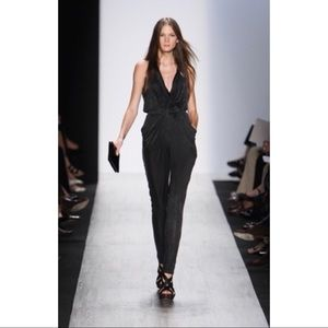 BCBG MAXAZRIA RUNWAY Black Draped Front Jumpsuit